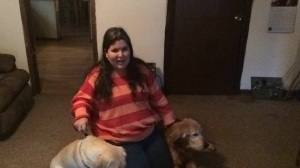 Jamie (her service dog), Tonia Clayton and Rebound (her retired service dog)