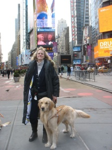 A Young Sumner and his human, Maia, in Times Square