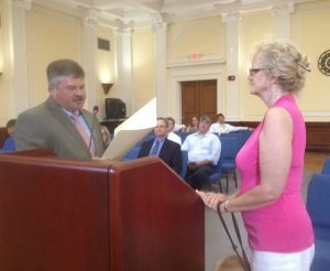 And here she receives the Proclamation signed by the Floyd County Commission.
