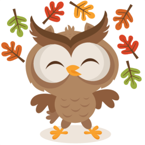 Image of a brown owl smiling while various fall-colored leaves fall around it.